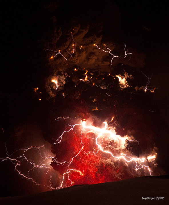 Volcano explosion in a thunderstorm!